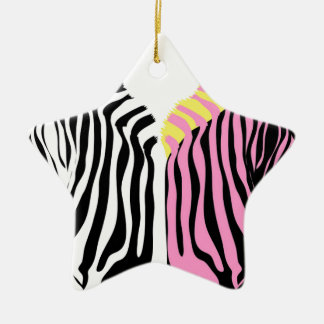 Two zebras - Black and White and Pink Ceramic Star Decoration