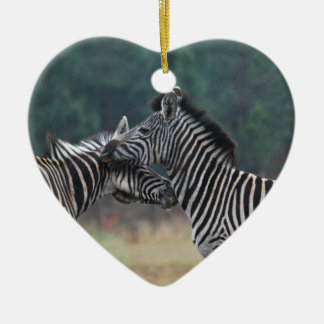 Two Zebras Ceramic Heart Decoration