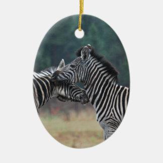 Two Zebras Ceramic Oval Decoration