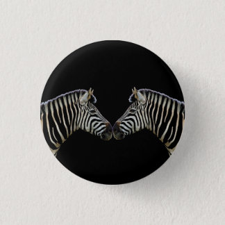 Two Zebras Nose to Nose 3 Cm Round Badge