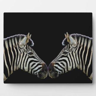 Two Zebras Nose to Nose Plaque