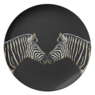 Two Zebras Nose to Nose Plate