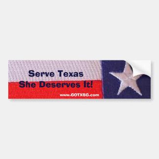 tx flag Serve Texas She Deserves It Bumper Sticker