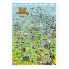 TX Hill Country Cartoon Map Postcard