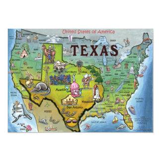 TX USA Map Card 13 Cm X 18 Cm Invitation Card