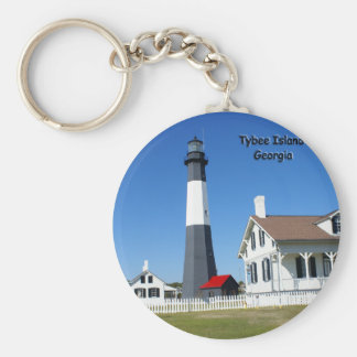 Tybee Island Lighthouse Basic Round Button Key Ring