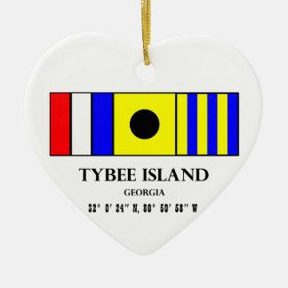 Tybee Island Nautical Flag Christmas Ornament