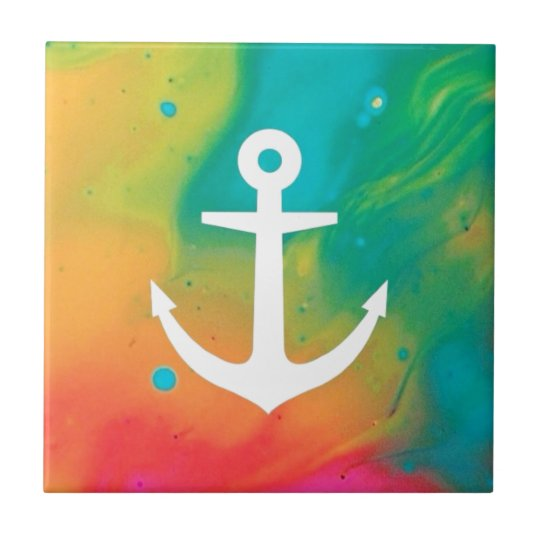 Tye Dye Anchor Design Small Square Tile