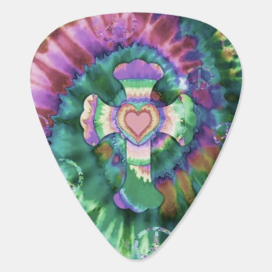 Tye Dye Cross Pink Colours Guitar Pick