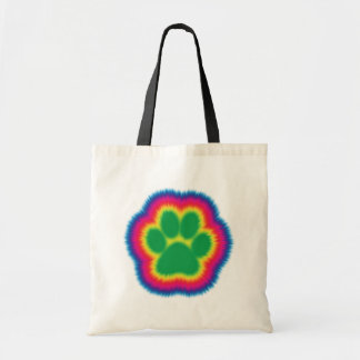 Tye Dye Pawprint Tote Bag