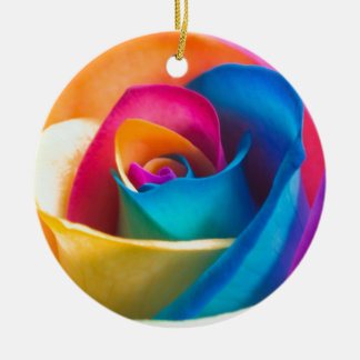 Tye Dye single rose Round Ceramic Decoration