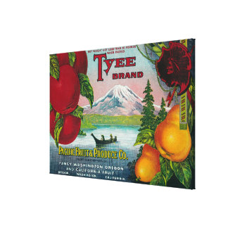 Tyee Pear Crate LabelWA, OR, and CA Gallery Wrap Canvas