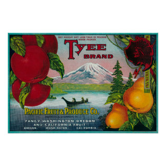 Tyee Pear Crate LabelWA, OR, and CA Poster