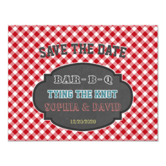 Tying the Knot BBQ Chalk Gingham Engagement Card