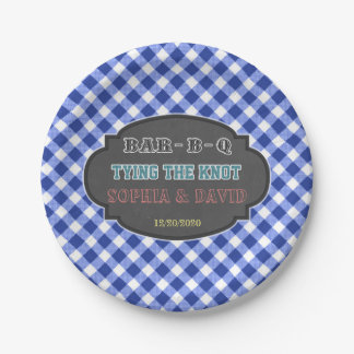 Tying the Knot BBQ Gingham Engagement Paper Plate