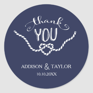 Tying the Knot Calligraphy Thank You Round Sticker