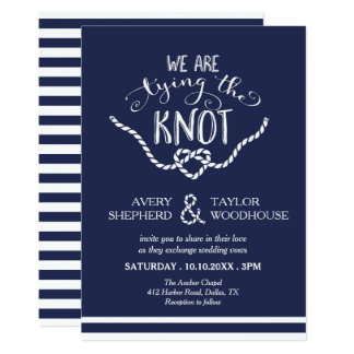 Tying the Knot Calligraphy Wedding 13 Cm X 18 Cm Invitation Card