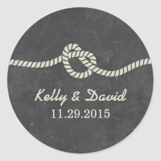 Tying the Knot Chalkboard Wedding Favor Stickers