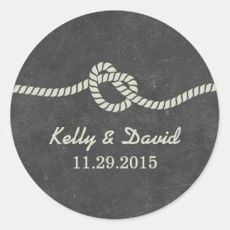 Tying the Knot Chalkboard Wedding Favor Stickers Round Sticker