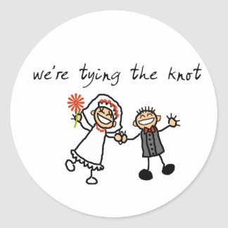 Tying the knot classic round sticker