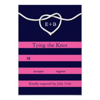 Tying the Knot Fuchsia & Navy RSVP 9 Cm X 13 Cm Invitation Card