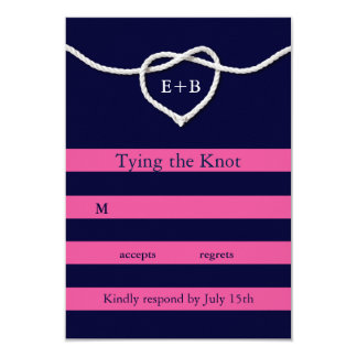 Tying the Knot Fuchsia & Navy RSVP Card
