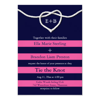 Tying the Knot Fuchsia & Navy Wedding Invitation
