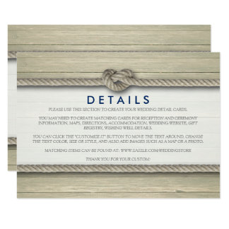 Tying The Knot Rustic Beach Wedding Details Card
