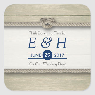 Tying The Knot Rustic Beach Wedding Favor Square Sticker