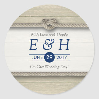 Tying The Knot Rustic Beach Wedding Favour Classic Round Sticker