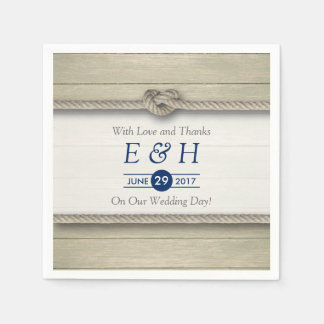 Tying The Knot Rustic Beach Wedding Paper Napkin