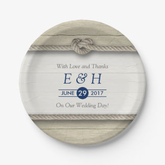 Tying The Knot Rustic Beach Wedding Paper Plate