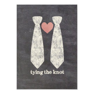 Tying the Know Chalkboard Gay Wedding Card