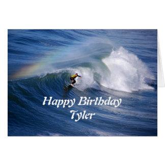 Tyler Happy Birthday Surfer With Rainbow Greeting Card