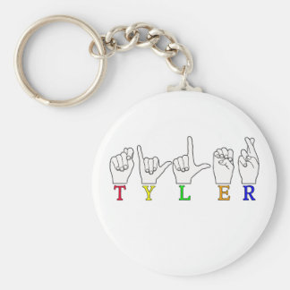 TYLER NAME FINGERSPELLED ASL SIGN BASIC ROUND BUTTON KEY RING