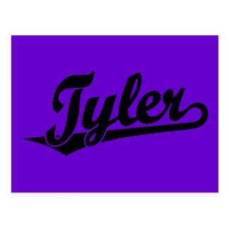 Tyler script logo in black postcard