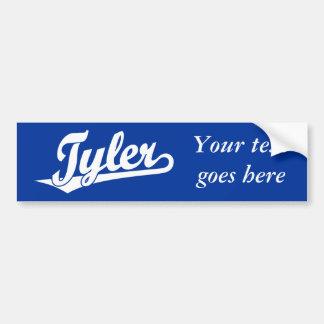 Tyler script logo in white car bumper sticker
