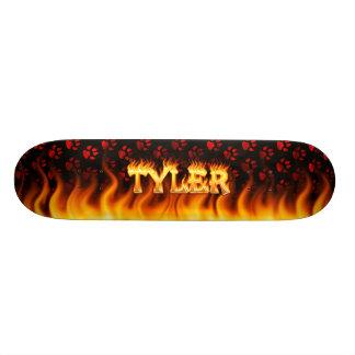 Tyler skateboard fire and flames design.
