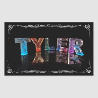Tyler - The Name Tyler in 3D Lights (Photograph) Rectangle Stickers