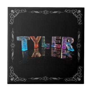 Tyler - The Name Tyler in 3D Lights (Photograph) Ceramic Tile