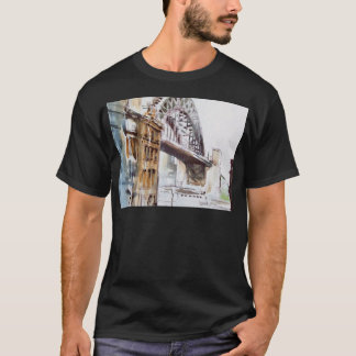 Tyne Bridge from Dean Street Black Tee Shirt