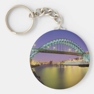 Tyne Bridge, Newcastle-Upon-Tyne, England Basic Round Button Key Ring