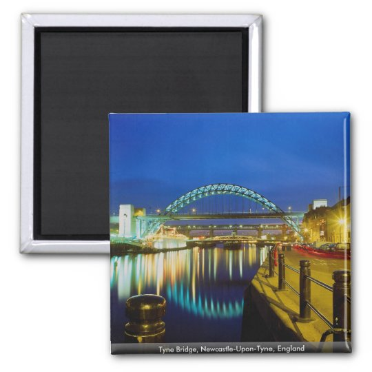 Tyne Bridge, Newcastle-Upon-Tyne, England Square Magnet