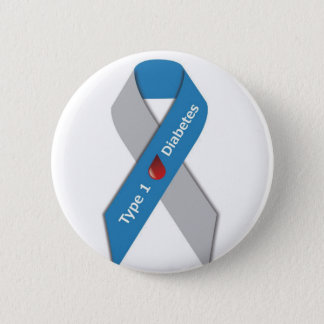 Type 1 Diabetes Awareness Ribbon 6 Cm Round Badge