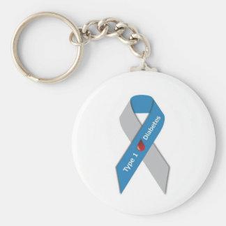 Type 1 Diabetes Awareness Ribbon Basic Round Button Key Ring