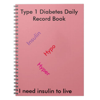 Type 1 diabetes Daily record book Notebook