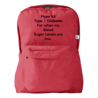 Type 1 diabetes hypo rucksack backpack