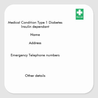 Type 1 diabetes medical alert stickers