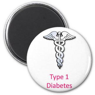 Type 1 Diabetes pink 6 Cm Round Magnet