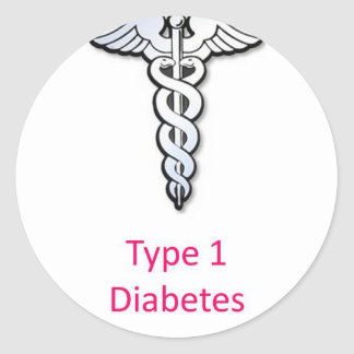 Type 1 Diabetes pink Classic Round Sticker